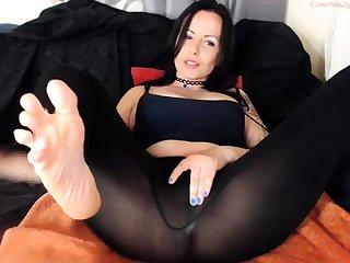 Busty Adriana nylon masturbation masturbating through nylons