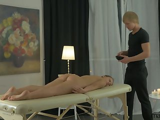 Sexy babe Emma Brown has come for massage but enjoys riding dick instead