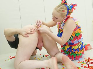 Tied up chick chick with plump spanked ass gets her mouth and anus rammed