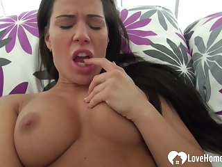 Saucy big-titted darkhaired babe uses a sex act toy