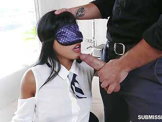 Blindfolded playful hottie Ember Snow is eager to be fucked missionary