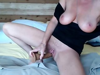 Sensual blonde with big boobs in sexy lingerie does blowjob