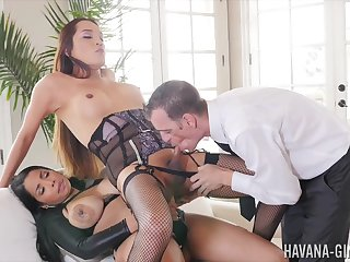 Shemale endures anal domination with a horny couple