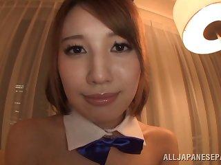 Nice ass Japanese beauty in sexy lingerie enjoying an orgasmic bed sex shoot