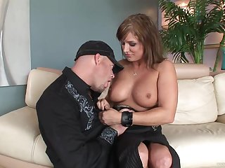 Curvy busty mature brunette getting thrusted on the sofa