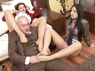 Foursome fucking in the office with Anna Polina and Cecilia De Lys