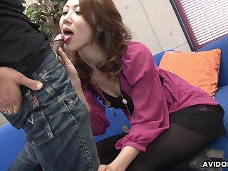 Amazing natural Japanese chick Riko Miyase surely loves sucking two dicks