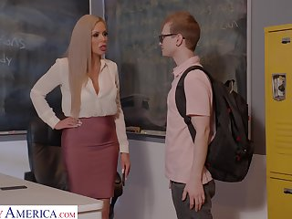 Horny nerdy MILFie tutor Nina Elle fucks well with her student on the desk