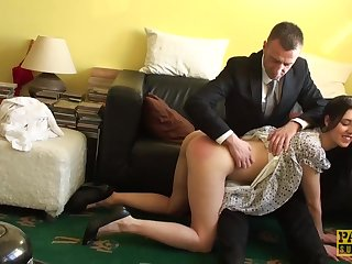 Creepy guy in a black suit likes his neighbor's hairy pussy more than he should