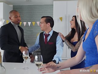 Busty MILF gets working with hubby's black business partner