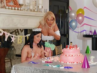 Stunning women share birthday pleasures fucking with toys