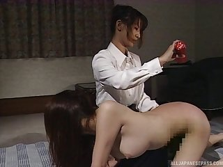 Asian porn video with two amateur lesbian sluts on the floor