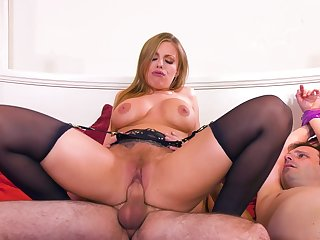 MILF rides the soul out of this guy's cock in brutal cuckold