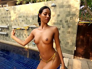 Super adorable Asian princess loves swimming naked and has nice tits