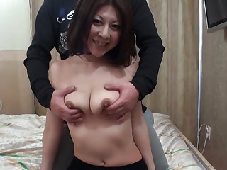 Trimmed pussy Japanese wife Junko gets fingered and fucked good
