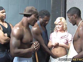 Blond bitch Kelly Surfer enjoys bukkake after hardcore gangbang scene