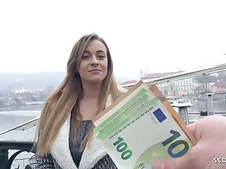 German blond, Josephine got a bunch of money from a stranger, to let him penetrate her