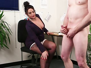Clothed office MILF seems keen for a little CFNM round