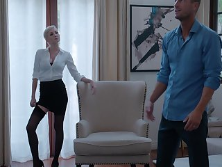 Pale housewife Skye Blue in stockings gets fucked on the bed