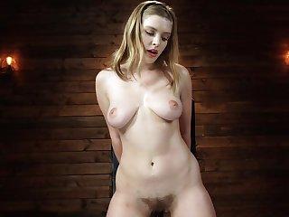 Blonde harlot gets sexual pleasure from the kinky machine